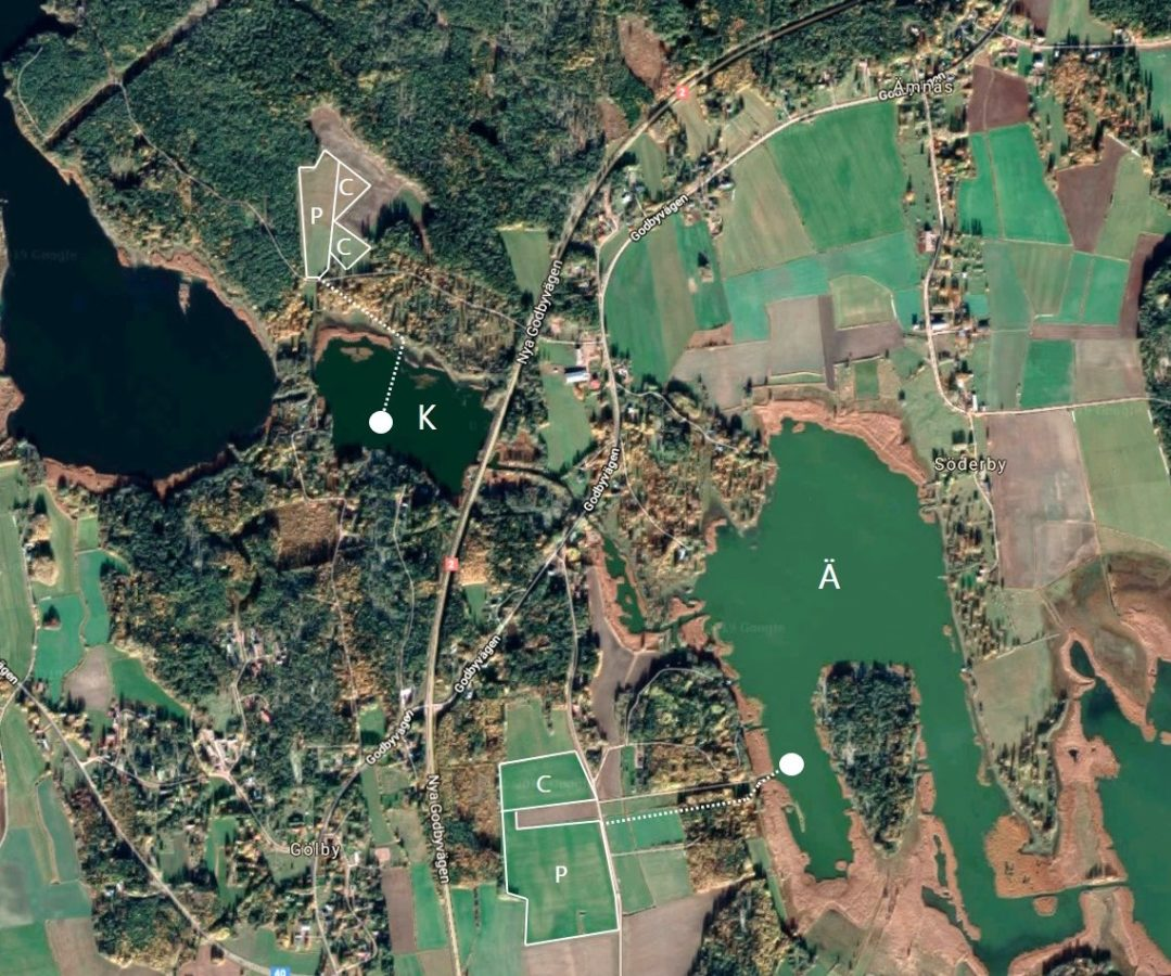 Satellite image of fields and bays in Åland.