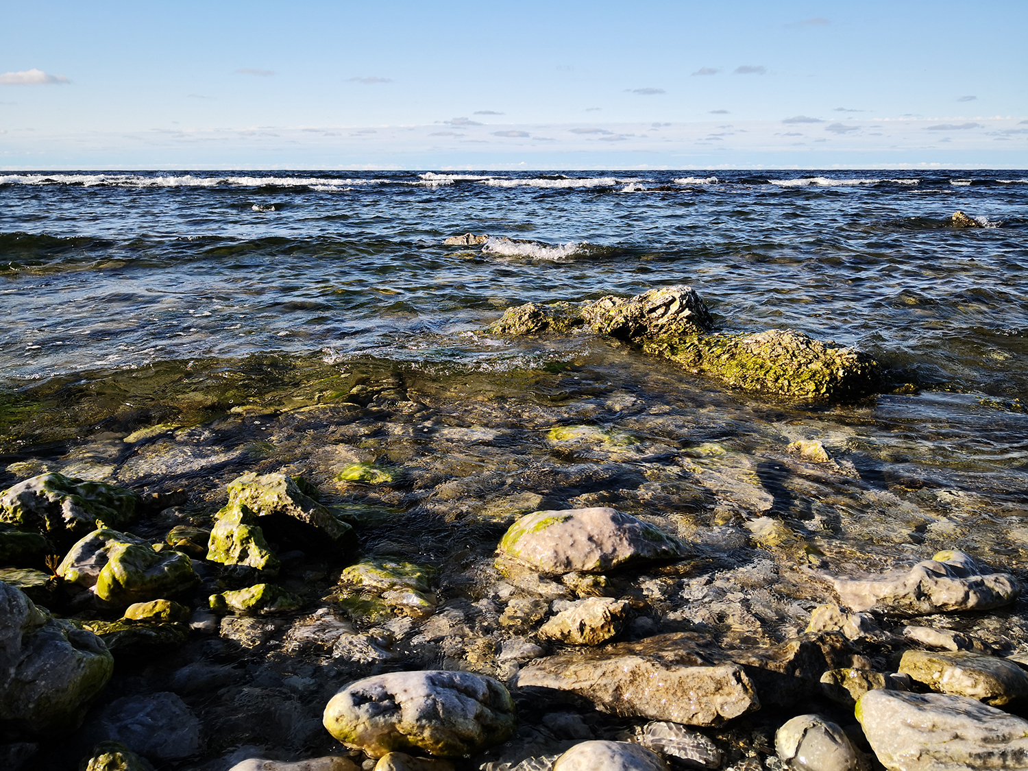 View of the Baltic Sea at a rocky shore in Gotland