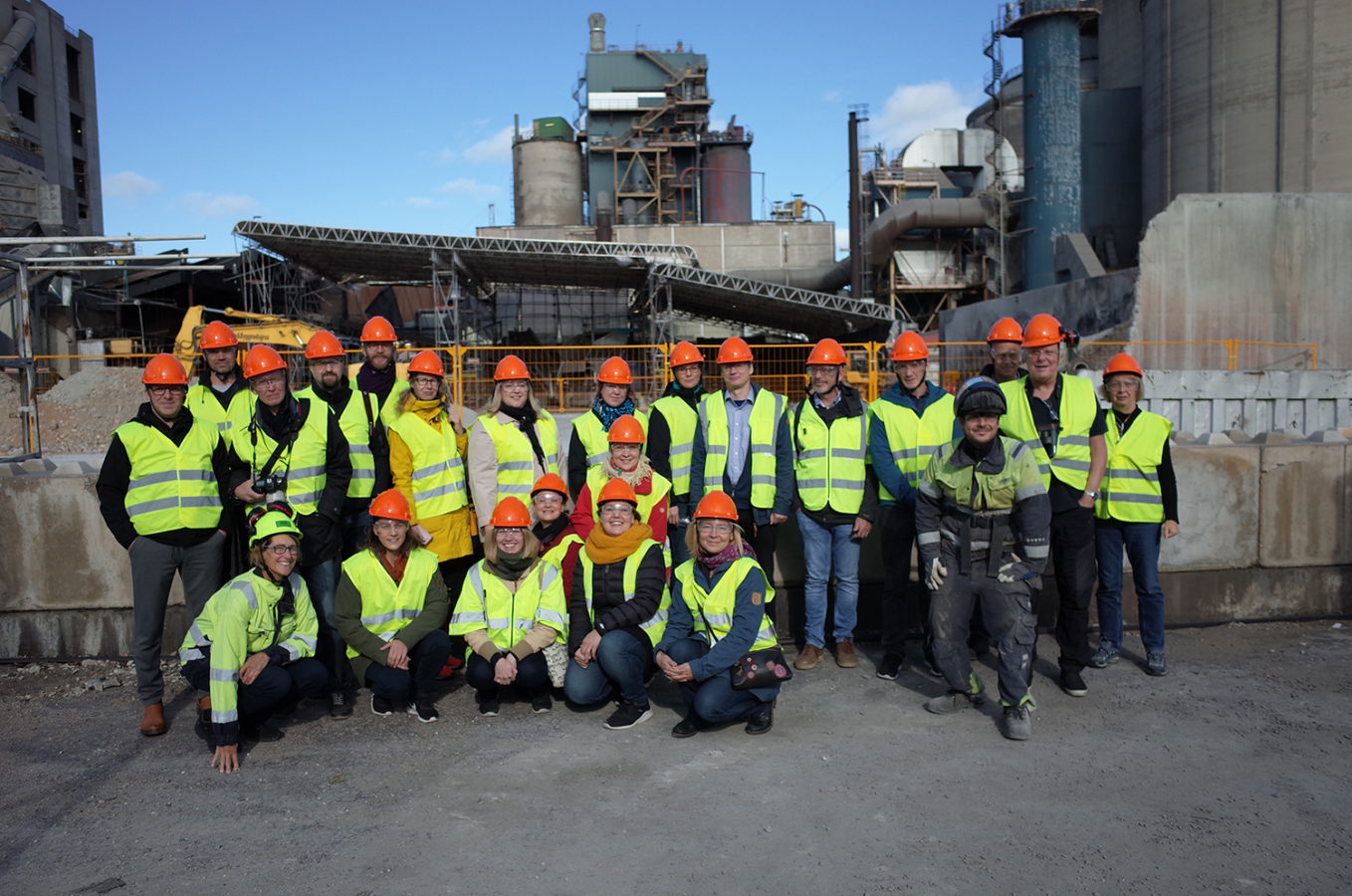 SEABASED Project team wearing safety vests and helmets in Cementa's factory in Gotland